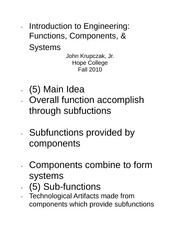 Functions componets and systems