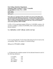 Chem 103 Solutions to 2nd Exam Fall 2010