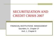 L11 Securitization and Credit crises