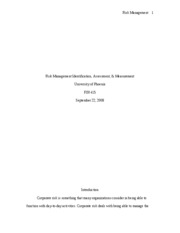 Risk Management Measurement and Assessment Paper