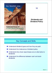 Ch 18 ( Dividends and Dividend Policy)