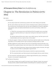 Chapter 21: The Revolution in Politics (1775-1815) - AP European History Chapter Outlines - Study No