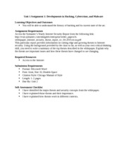 Unit 1 Assignment 1 Developments in Hacking, Cybercrime, and Malware