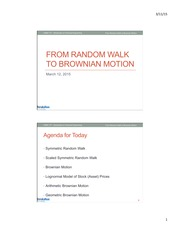Random Walk and Brownian Motion
