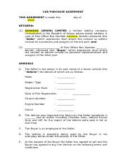 Agmts - Car Purchase Agreement