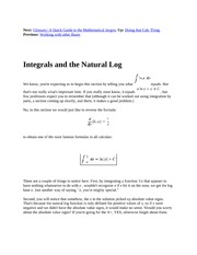 14 Integrals and the Natural Log