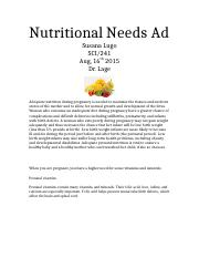 Nutritional Needs Ad Identify the nutritional need
