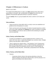Class Notes_Chapter 4 Differences in Culture