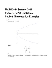MATH 203 Implicit Differentiation Example Practice Problems Solutions