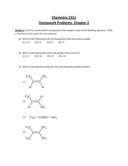 Chemistry 2311- Homework Problems- Chapter 2