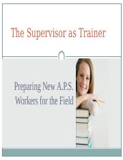 Supervisor as Trainer  (2)