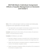 MGT449 Week 2 Individual Assignment Effects of Quality Management on Domestic and Global C