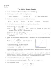 Exam 3 Review on Differential Equations