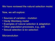 Lecture 4 - Mutation and Hardy Weinburg