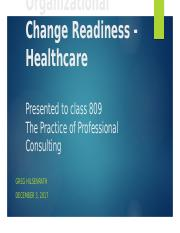 Organizational Change Readiness in Healthcare