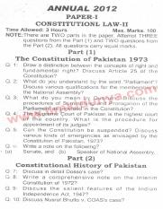 Past Papers 2012 LLB Part 2 Constitutional Law Paper 1