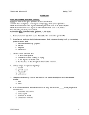 Nutritional Sciences 10 - Spring 2002 - Final Exam