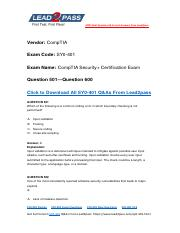 Updated Lead2pass CompTIA SY0-401 Braindump Free Download (501-600).pdf