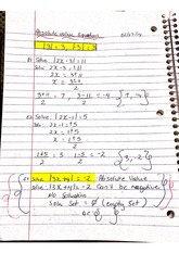 Chapter 2 Absolute Value Class Notes