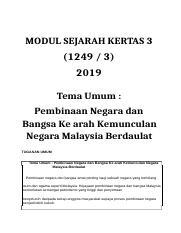 K3 Nota Bimbingan Sejarah Kertas 3 Spm Tema 11 Pembinaan Negara Dan Bangsa Ke Arah Kemunculan Negara Malaysia Berdaulat Soalan 1 Sebagai Bahasa Course Hero