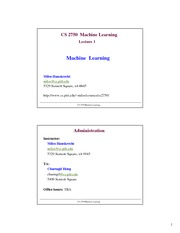 Lecture Notes A on Machine Learning
