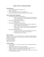 Chapter 9 Notes - Creating Brand Equity