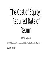 FIN370 Lecture 4_Cost of Equity(The required rate of return)