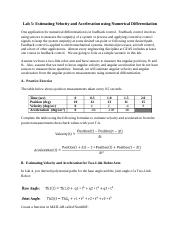 Lab 5 Estimating Velocity and Acceleration Using Numerical Differentiation.docx