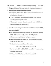 Lecture 7 on Rate of Return Analysis Multiple Alternatives (Chapter 8)