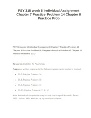 PSY 315 week 5 Individual Assignment Chapter 7 Practice Problem 14 Chapter 8 Practice Prob