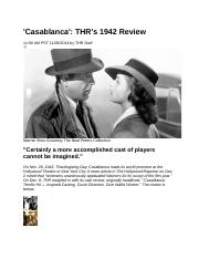 December 1942 The Hollywood Reporter Review of Casablanca