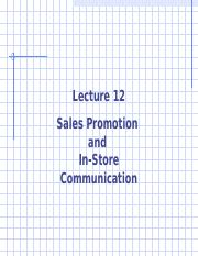 Advertising Lecture 12 -- Sales Promotion and In-Store Communication rev