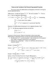 Notes on the Calculus of the Natural Exponential Function