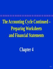 The Accounting Cycle Continued Preparing Worksheets and Financial Statements.ppt