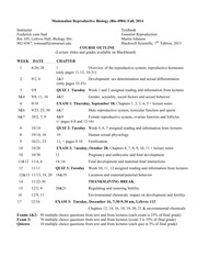 BIO 4984 Syllabus Chapter and Test Schedule Fall 2014