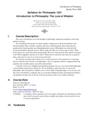 Syllabus - 2008 Spring Introduction to Philosophy