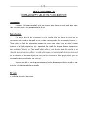 Lab 3 report Displacement_Velocity_Acceleration