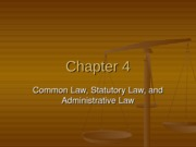 Chapter 4 - Common, Statutory, & Admin Law