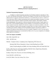Obtaining Statistical Computing Resources Fall 2013
