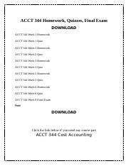 ACCT 344 Homework, Quizzes, Final Exam