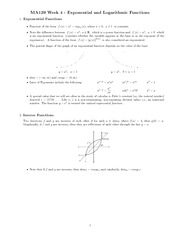 Chapter 4 - Exponential and log functions study guide