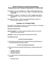 Study Guide 12 Hemispheric Specialization & Interhemispheric Communication - Copy