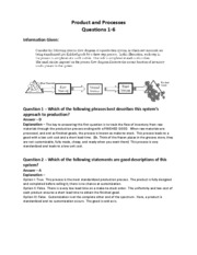 PRODUCTS AND PROCESSES- Worked Answers for 1-6