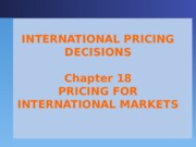 9 International Pricing Decisions