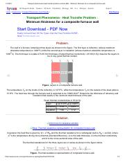 Transport phenomena heat transfer problem solution BSL _ Minimum thickness for a composite furnace w