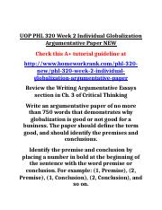 UOP PHL 320 Week 2 Individual Globalization Argumentative Paper NEW