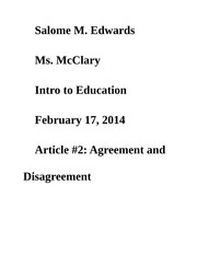 Article #2: Agreement and Disagreement