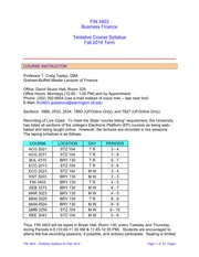 FIN 3403 - Tentative Syllabus - Fall 2014 Term