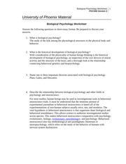 Psy 340 Week 2 Individual Ignment Brain Structures And Functions Worksheet Here To The Tutorial