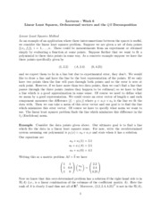 Study Guide on Lienar Least Squares, Orthonormal Vectors, the QR Decomposition